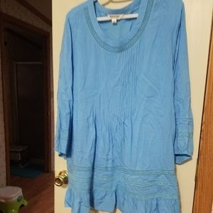 EUC Tantrums Pintuck Blouse with Crochet Accents
